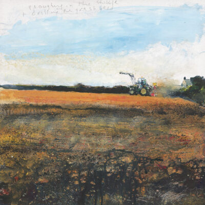 Ploughing in the stubble and drilling the grass seed. 2017. mixed media on wood panel. 60 x 60cm.
